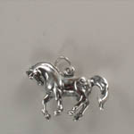 side of Sterling Silver 3 D prancing horse charm pendant