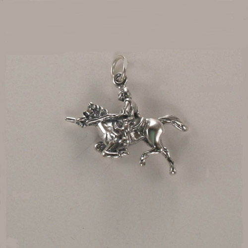 Sterling Silver knight and horse jousting charm/pendant