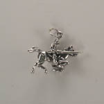 side of Sterling Silver knight and horse charm pendant