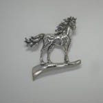 Sterling Silver stallion on a hill brooch