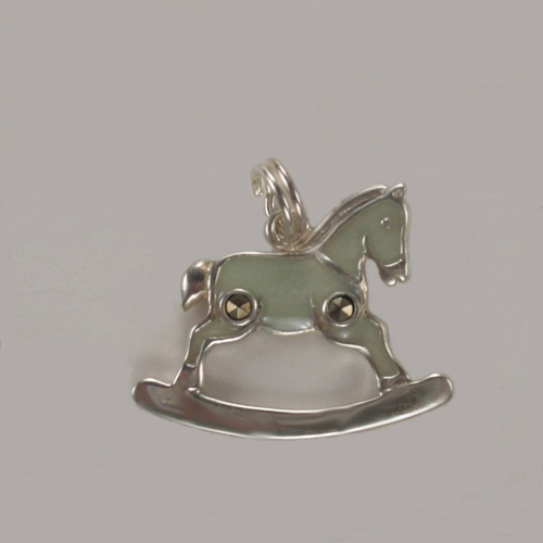 Sterling Silver enamel and marcasite rocking horse charm pendant
