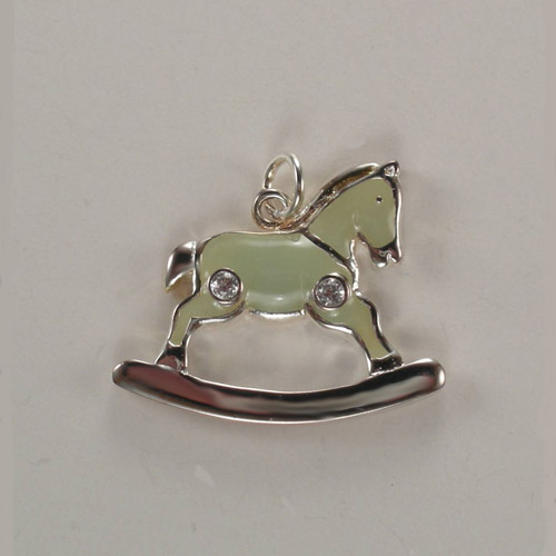 Sterling SIlver enamel and cubic zirconia rocking horse charm pendant