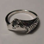 side view of Sterling Silver horse head ring