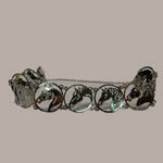 Rhodium plated horse head link bracelet