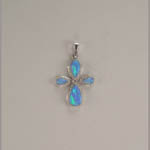 Sterling Silver synthetic Black Opal cross pendant