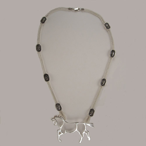 Sterling Silver abstract horse necklace