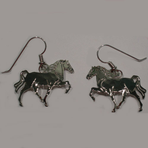 Rhodium plated Tennessee Walker earrings