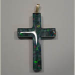 14 karat yellow gold opal triplet cross pendant