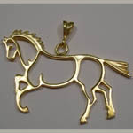 14 kt. y.g. abstract trotting horse pendant