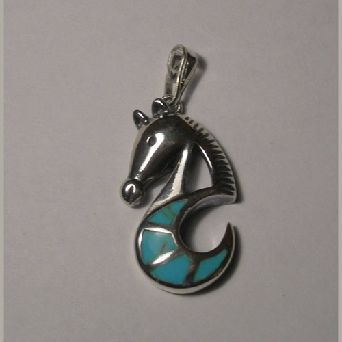 Sterling Silver turquoise abstract sea horse pendant