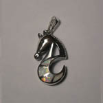 Sterling Silver Opal abstract sea horse pendant