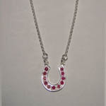 Sterling Silver ruby large horse shoe necklace