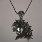 Sterling Silver large marcasite horse head necklace