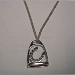 Sterling Silver horse shoe inside stirrup necklace