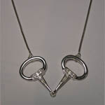 Sterling Silver Cubic Zirconia snaffle bit necklace