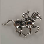 Sterling Silver Thoroughbred race horse brooch