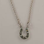 Sterling Silver small marcasite horseshoe necklace