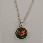 Sterling Silver enamel fox head necklace