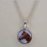 Sterling Silver enamel horse head necklace
