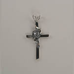 Sterling Silver rose on cross pendant