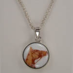 Sterling Silver enamel horse head in bridle necklace
