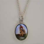 Sterling Silver hunter jumper scene necklace