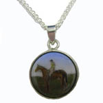 Sterling Silver enamel race horse and jockey necklace