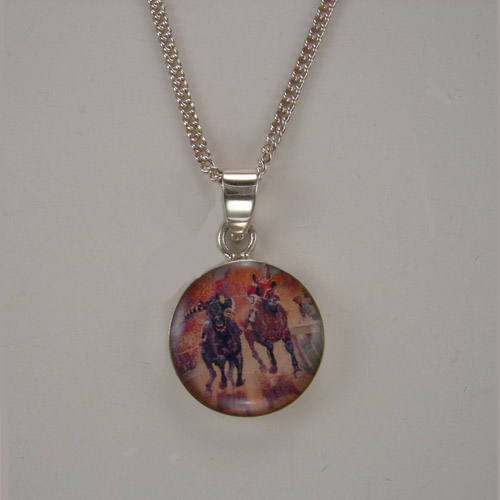 Sterling Silver enamel Seabiscuit necklace