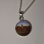Sterling SIlver enamel galloping race horse necklace