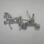 Sterling Silver Saddlebred horse and carriage brooch