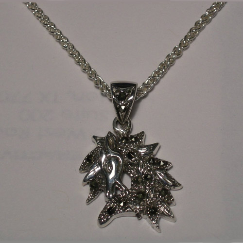 Sterling Silver small marcasite horse head necklace