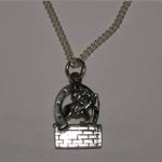 Sterling Silver hunter jumper over brick wall necklace