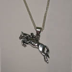 Sterling Silver horse and rider jumping necklace
