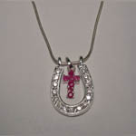 Sterling Silver ruby inside large horseshoe necklace