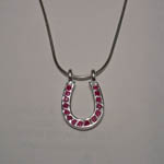 Sterling Silver ruby horseshoe necklace