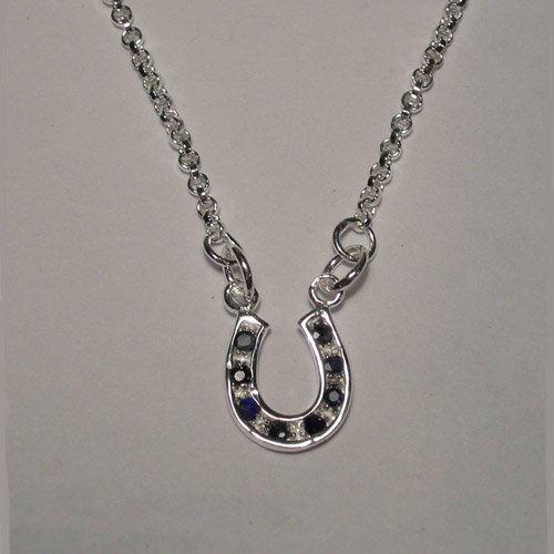 Sterling Silver small sapphire horseshoe necklace