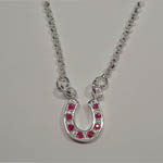 Sterling Silver small ruby horseshoe necklace