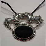 Sterling Silver double horses and Black Onyx pin/pendant
