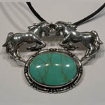 Sterling Silver double horses and Turquoise pin/pendant