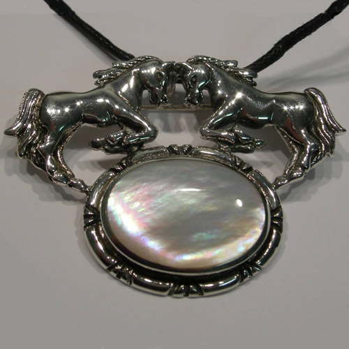 Sterling Silver double horses and Mother of Pearl pin pendant