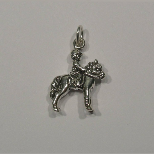 Sterling Silver child rider and pony charm/pendant