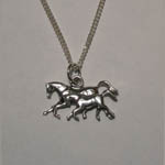Sterling Silver galloping mare and foal necklace