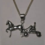 Sterling Silver Saddlebred and carriage necklace