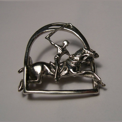 Sterling Silver Polo pony and rider inside stirrup brooch