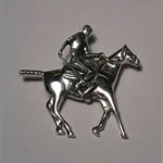 Sterling Silver Polo pony and rider brooch