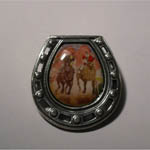 Sterling Silver enamel Seabiscuit match race in horseshoe brooch