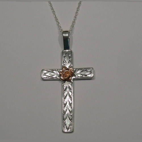 Sterling Silver and rose gold cross necklace