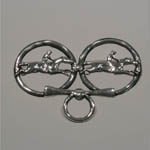 Sterling Silver double race horse brooch