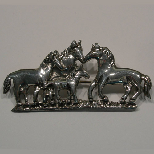 Sterling Silver horse herd brooch