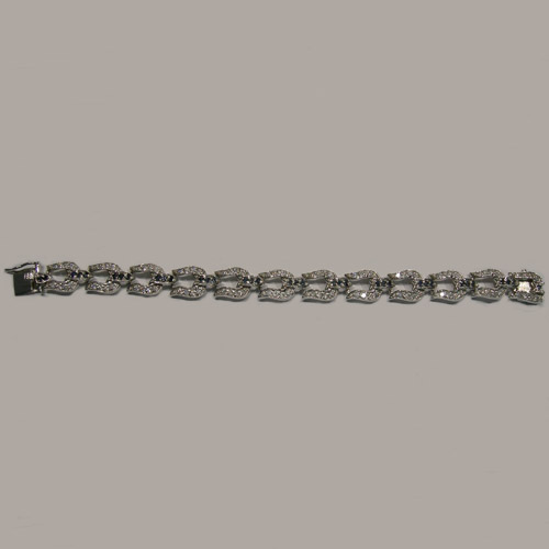 Sterling Silver sapphire and Cubic Zirconia horseshoe bracelet